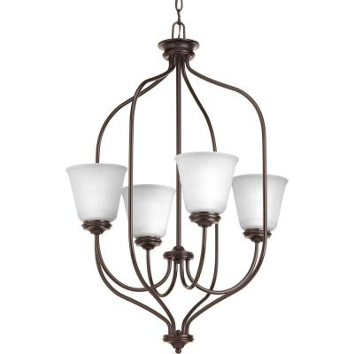 Keats Collection 4-Light Antique Bronze Foyer Pendant with Frosted Ribbed Glass