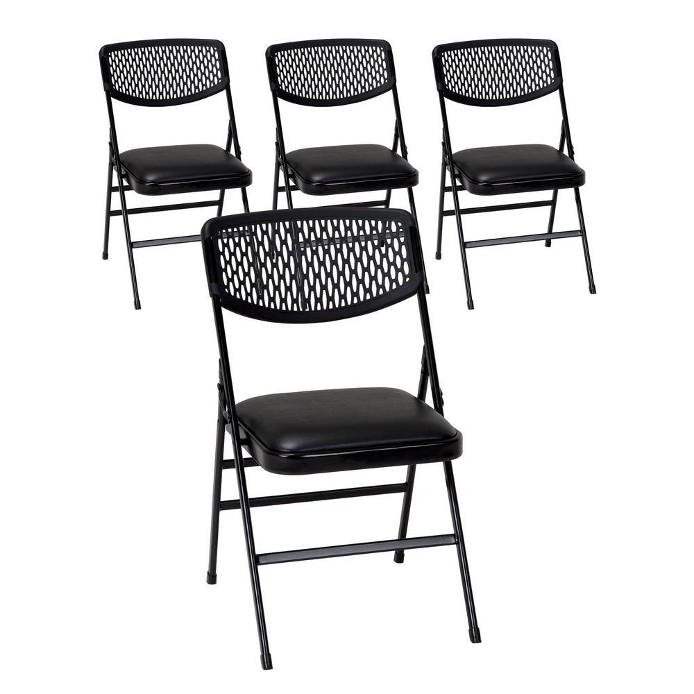 Black Metal Padded Folding Chair (Set of 4)