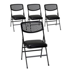 Commercial Black Metal Folding Chair With Vinyl Padded Seat And Resin Mesh  Back (Set Of