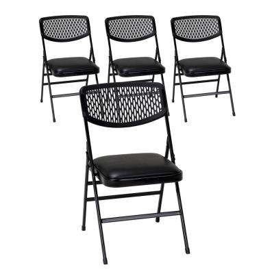 Commercial Black Metal Folding Chair with Vinyl Padded Seat and Resin Mesh Back (Set of 4)