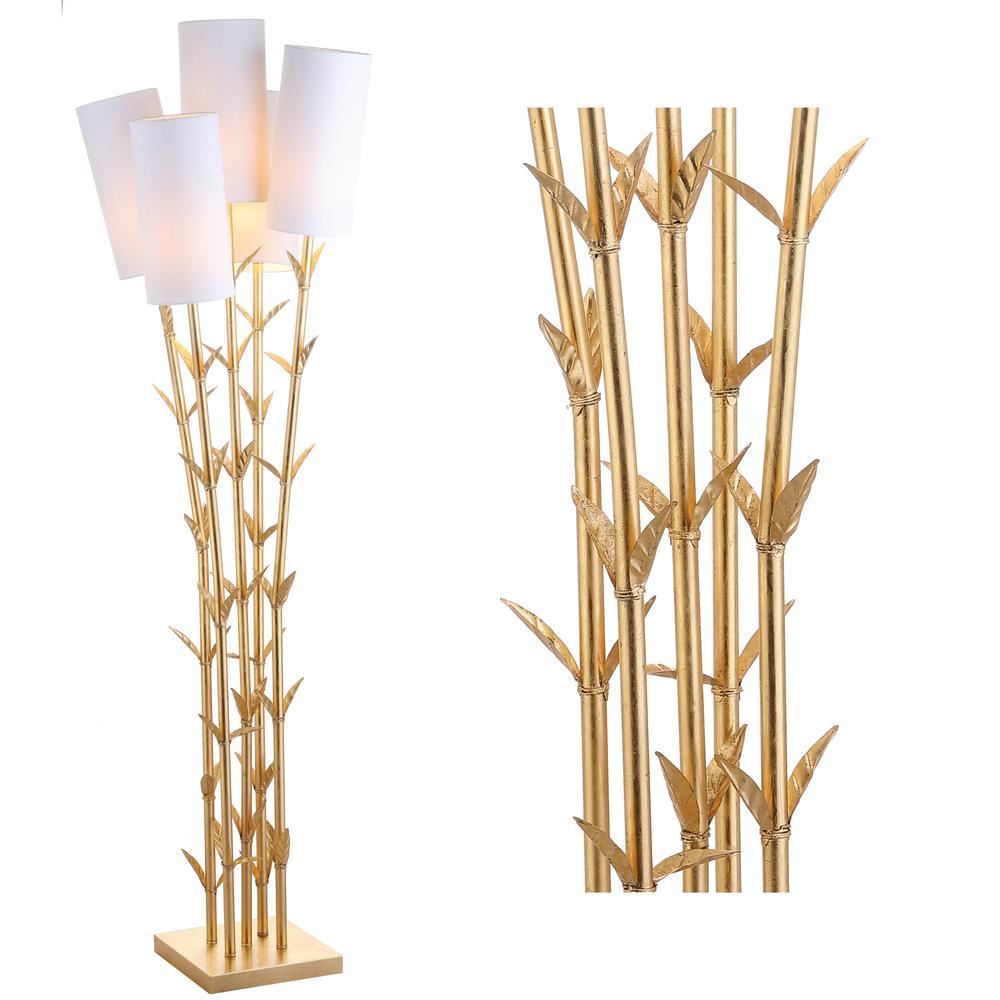 Bamboo 65.5 in. 5-Light Gold/White Brass Floor Lamp
