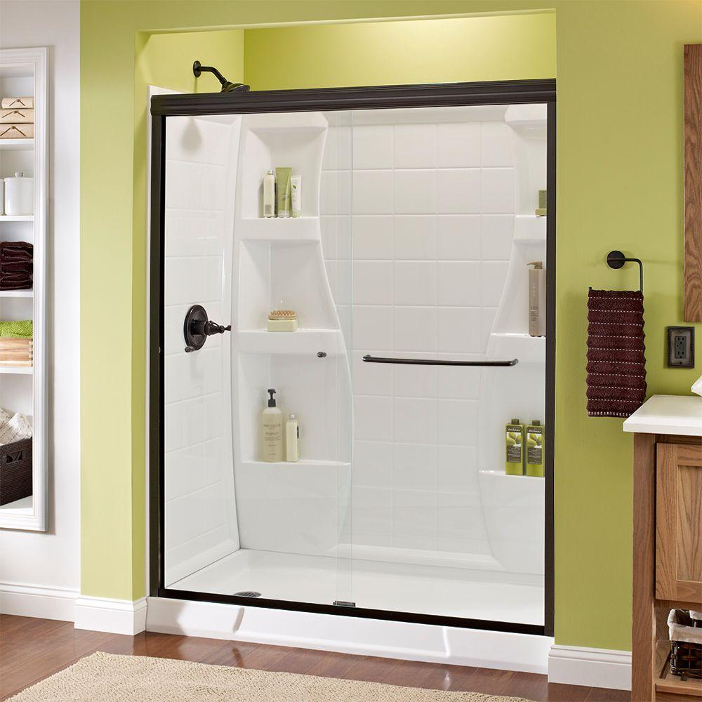 Superieur Delta Simplicity 60 In. X 70 In. Semi Frameless Sliding Shower Door In  Nickel With Clear Glass 1117895   The Home Depot