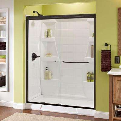 Simplicity 60 in. x 70 in. Semi-Frameless Traditional Sliding Shower Door in Bronze with Clear Glass