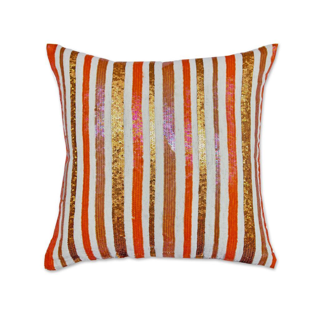 A1HC Stripe Opulence Pillow 100% Multi-Color Cotton Decorative Pillow RCC-1479
