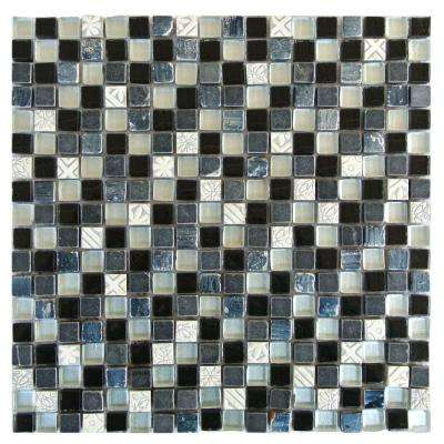 Black Mosaic 1 in. x 1 in. Blend Glass and Stone Mesh Mounted Decorative Bathroom Wall and Floor Tile (0.98 Sq. ft.)
