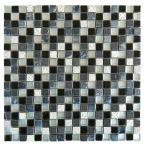 Quartz Scacchi Black 11.7 in. x 11.7 in. Glass and Stone Mosaic Wall Tile (1 Sq. ft.)