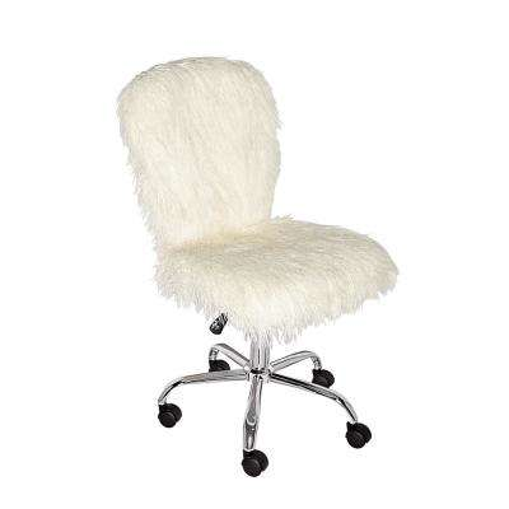 Faux Flokati White Armless Office Chair