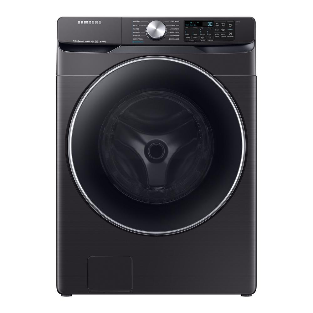 Samsung 4 5 cu  ft  High-Efficiency Fingerprint Resistant Black Stainless  Front Load Washing Machine with Steam and Super Speed