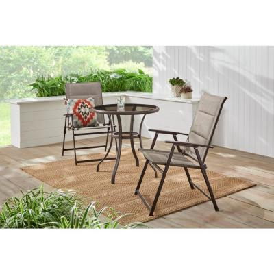 Mix and Match 3-Piece Dark Taupe Steel Outdoor Bistro Set in Riverbed Taupe Tan