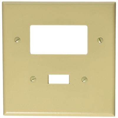 2-Gang Jumbo Size 1-Toggle 1-Decora Plastic Combination Wall Plate, Ivory