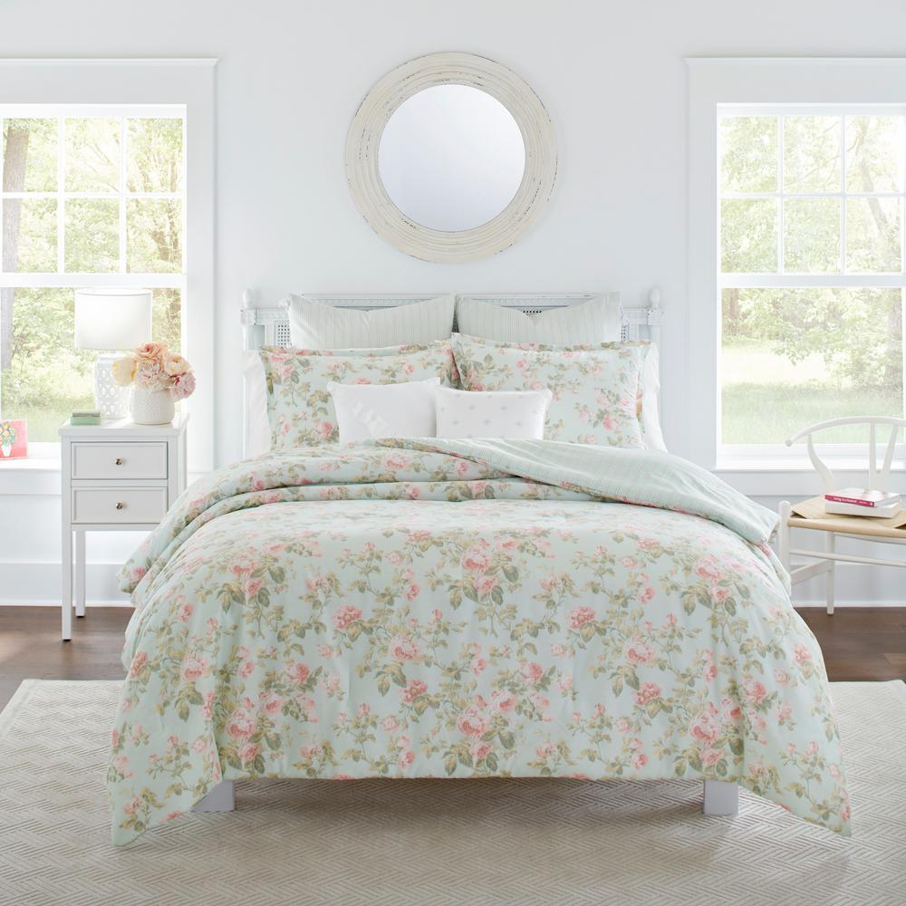 Madelynn Blue Cotton 7-Piece Comforter Set, Full/Queen