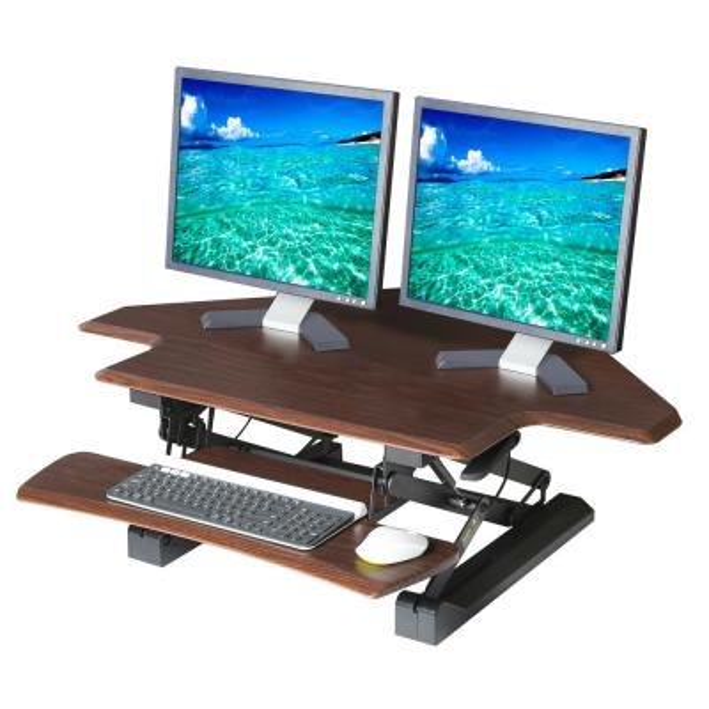 43.3 in. Rectangular Walnut Standing Desks with Adjustable Height