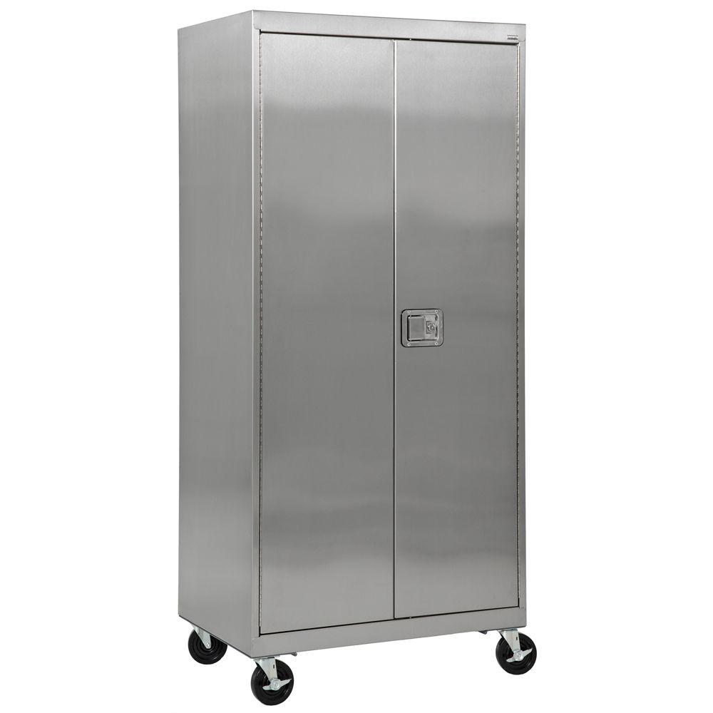 Sandusky 36 in. W x 24 in. D x 84 in. H Stainless Steel Mobile Cabinet with Paddle Lock