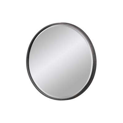 Round Gray Tarnished Wall Mirror
