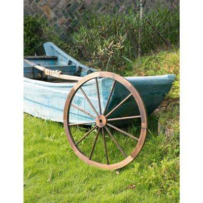35 in. x 1.4 in. Decorative Antique Brown Wagon Garden Wheel