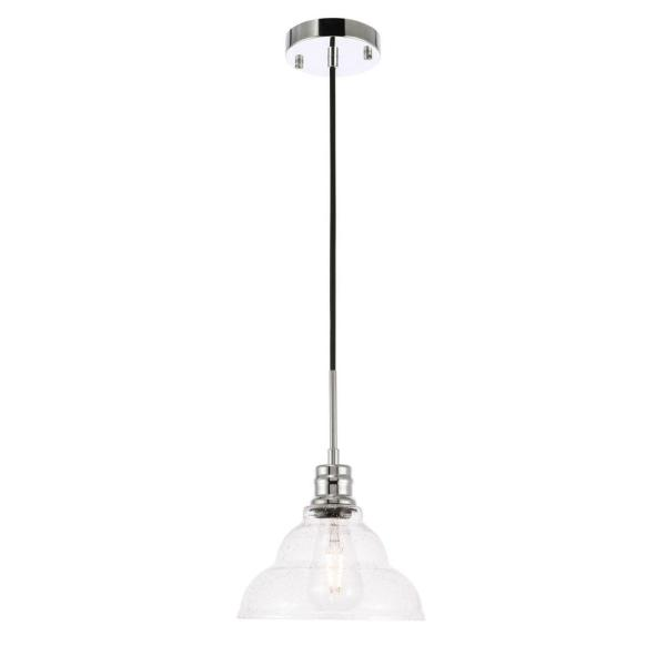 Timeless Home Garza 1-Light Pendant in Chrome with 8.5 in. W x 5.25 in. H Seeded Glass Shade