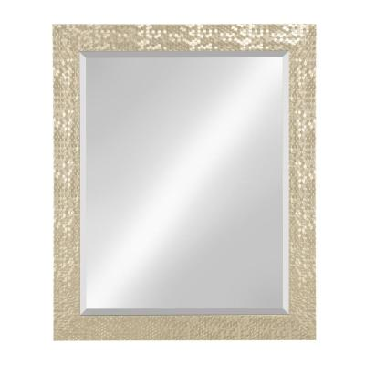 Medium Rectangle Gold Beveled Glass Contemporary Mirror (33 in. H x 27 in. W)