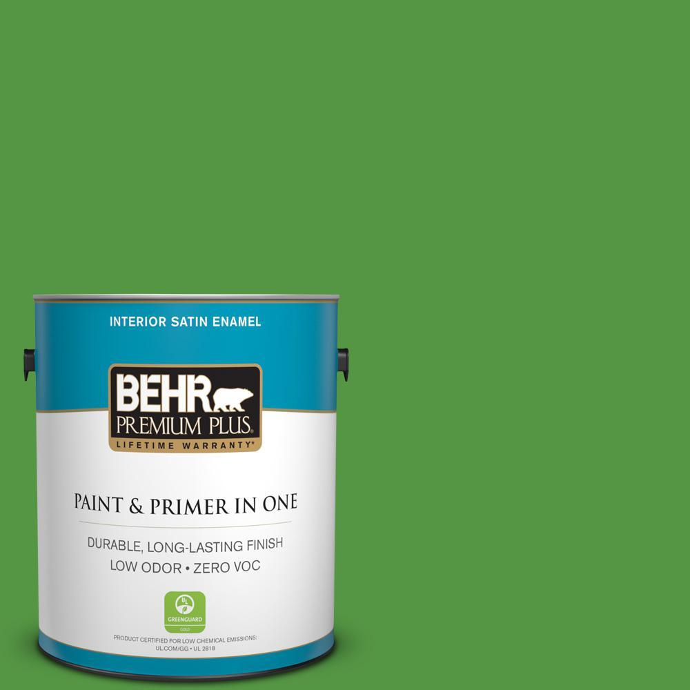 BEHR Premium Plus 1-gal. #430B-7 Cress Green Zero VOC Satin Enamel Interior Paint