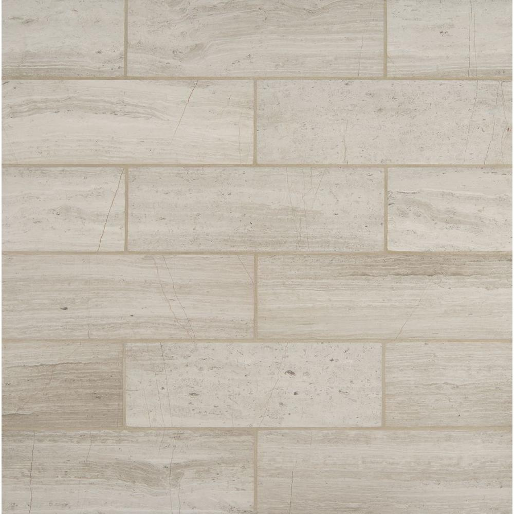 Ms international white oak 4 in x 12 in honed marble floor and wall tile 2 sq ft case Ceramic stone tile