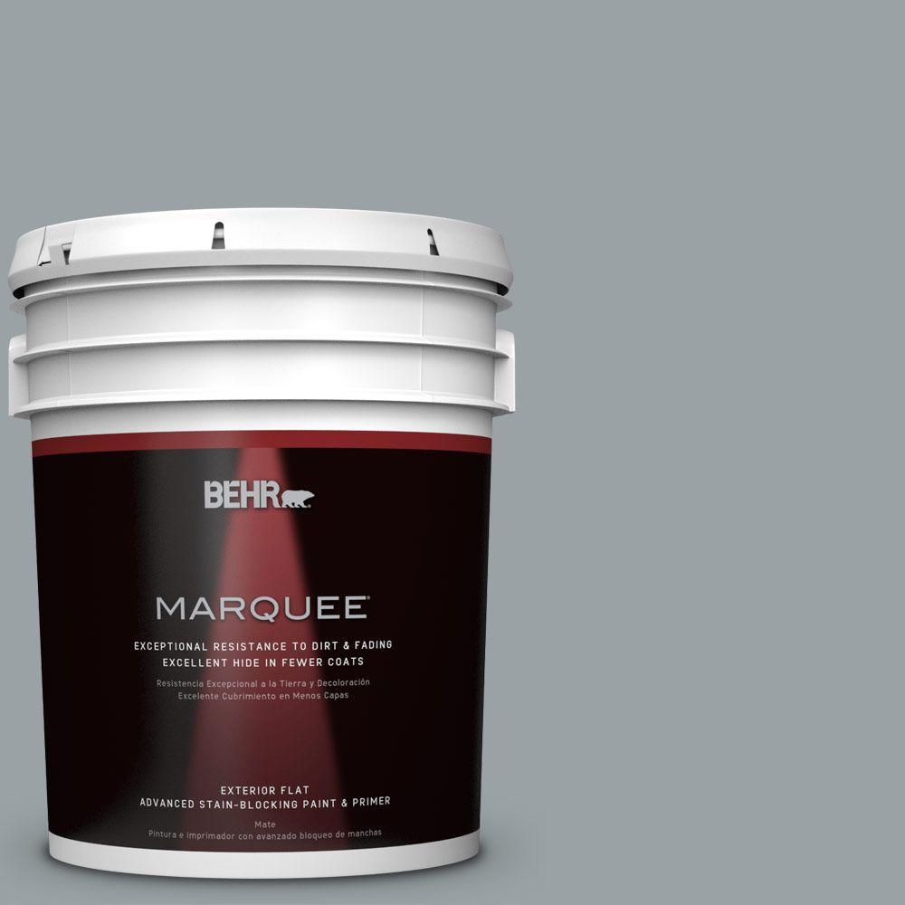 5 gal. #HDC-SM16-02 River Rock Grey Flat Exterior Paint