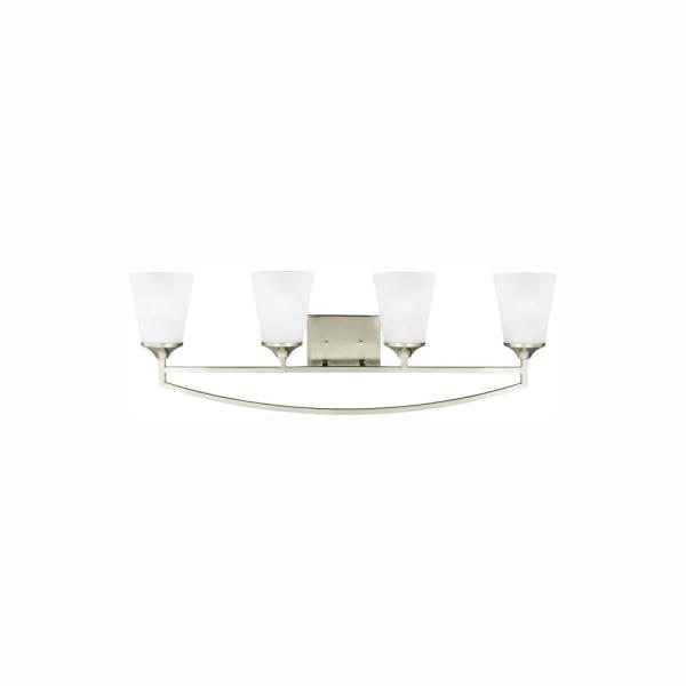 Hanford 4-Light Brushed Nickel Bath Light with LED Bulbs