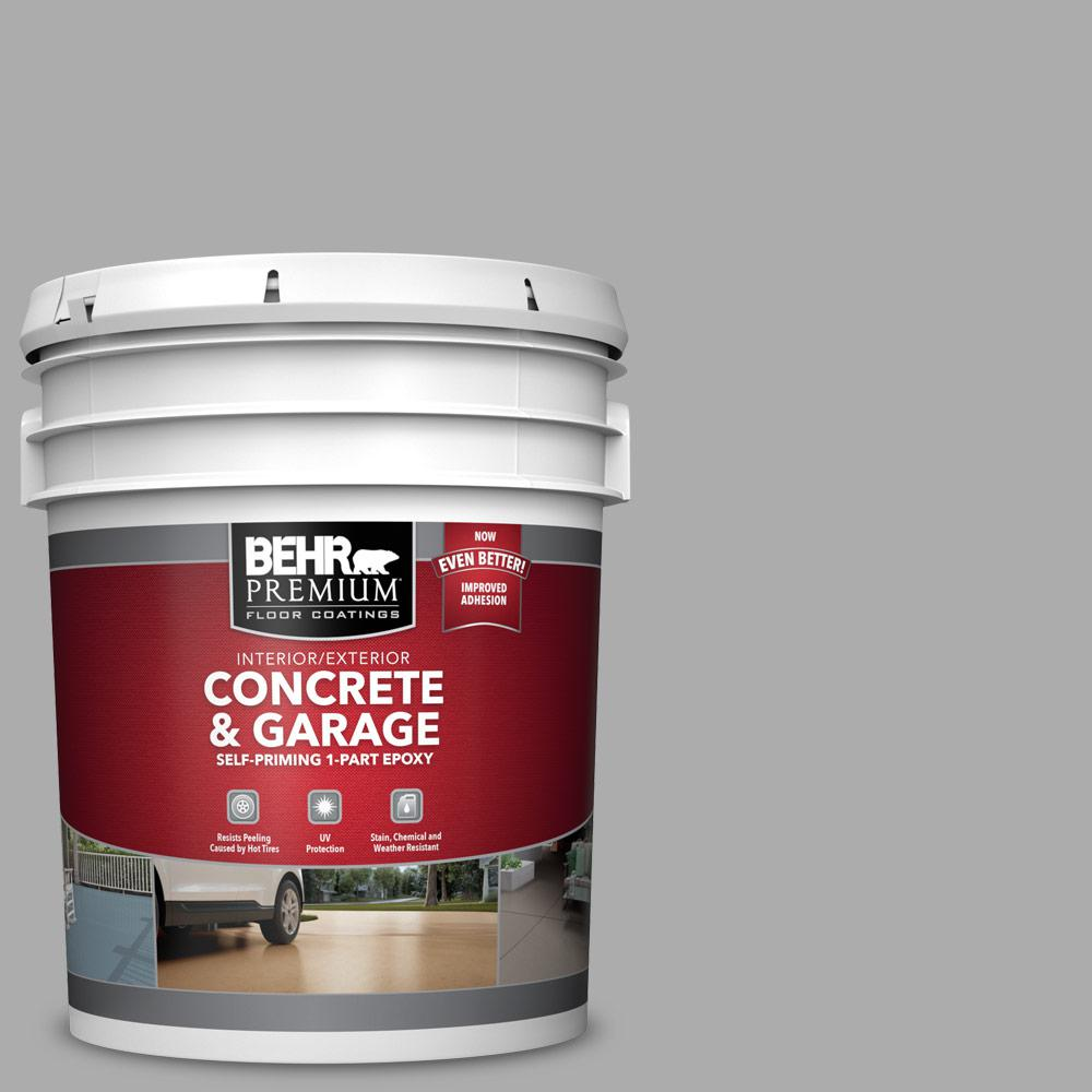BEHR PREMIUM 5 gal. #N520-3 Flannel Gray Self-Priming 1-Part Epoxy Satin Interior/Exterior Concrete and Garage Floor Paint