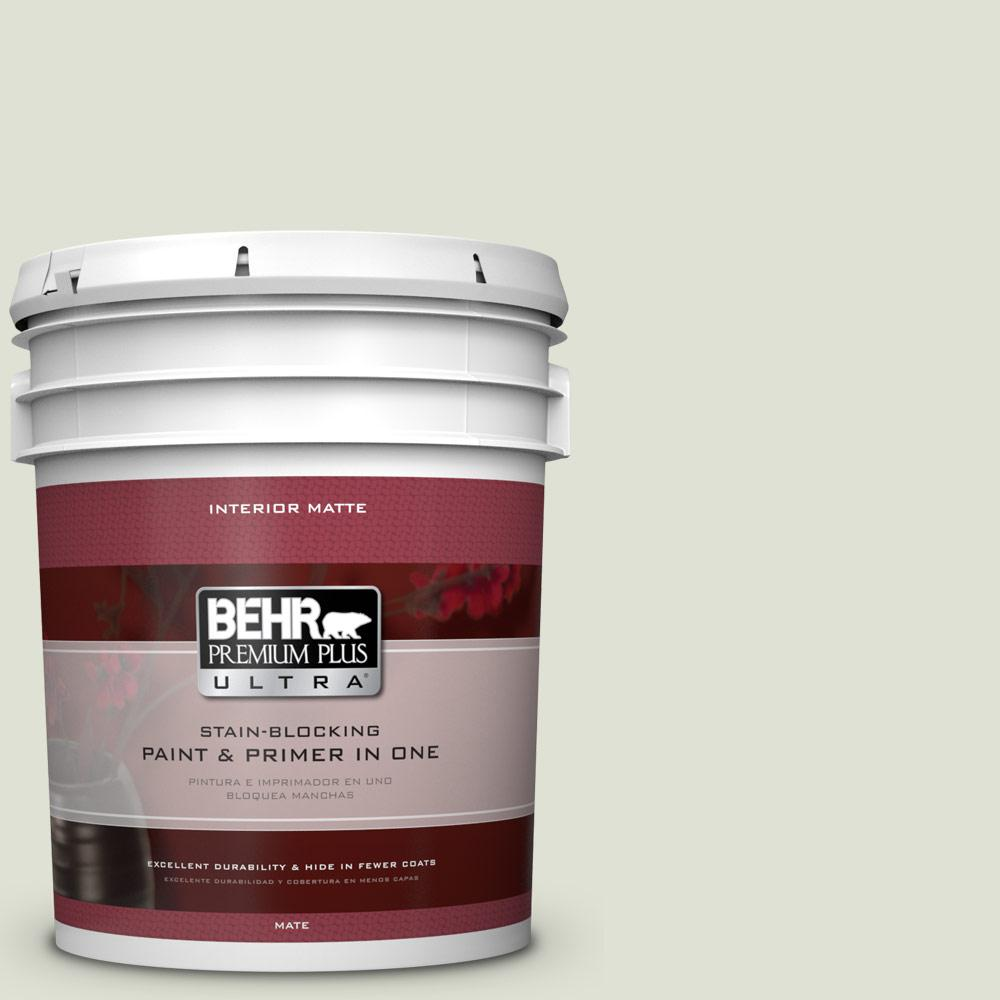 BEHR Premium Plus Ultra 5 gal. #S380-1 Moss Mist Matte Interior Paint