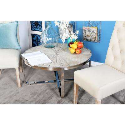 Brown Radial Coffee Table with Silver Frame