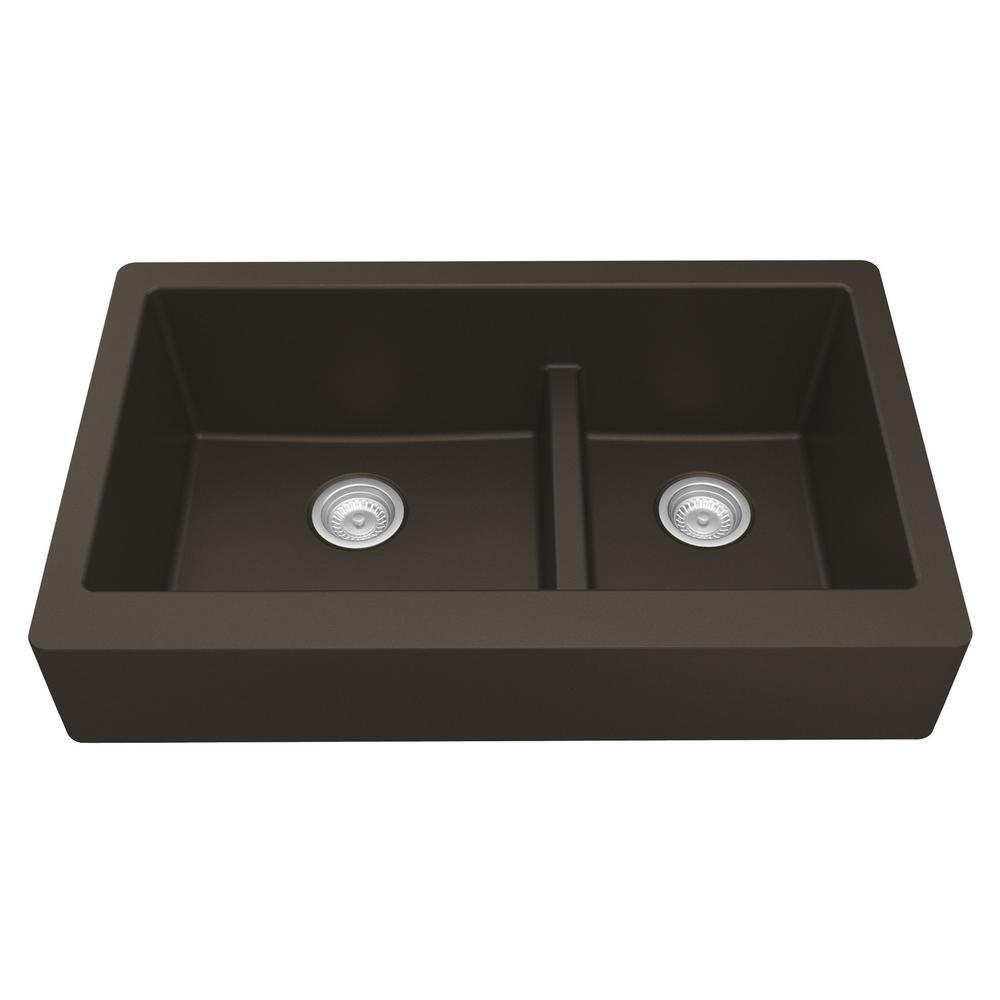 Karran Retrofit Farmhouse/Apron-Front Quartz Composite 34 in. Double Offset Bowl Kitchen Sink in Brown