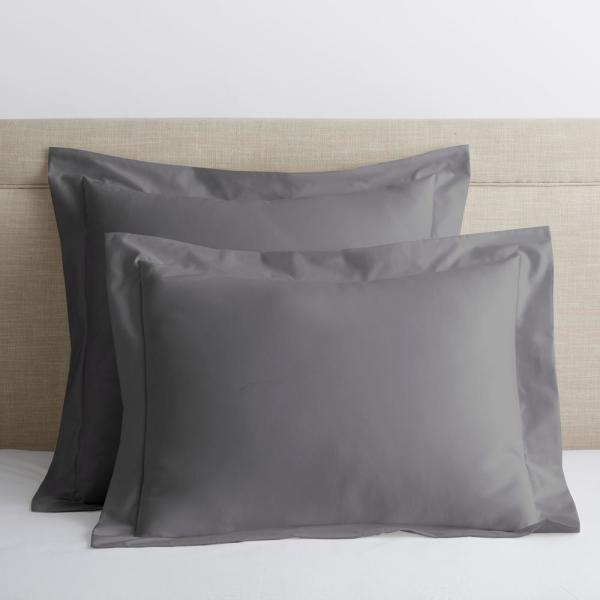 Company Cotton Stone Gray Solid 300-Thread Count Wrinkle-Free Sateen King Sham