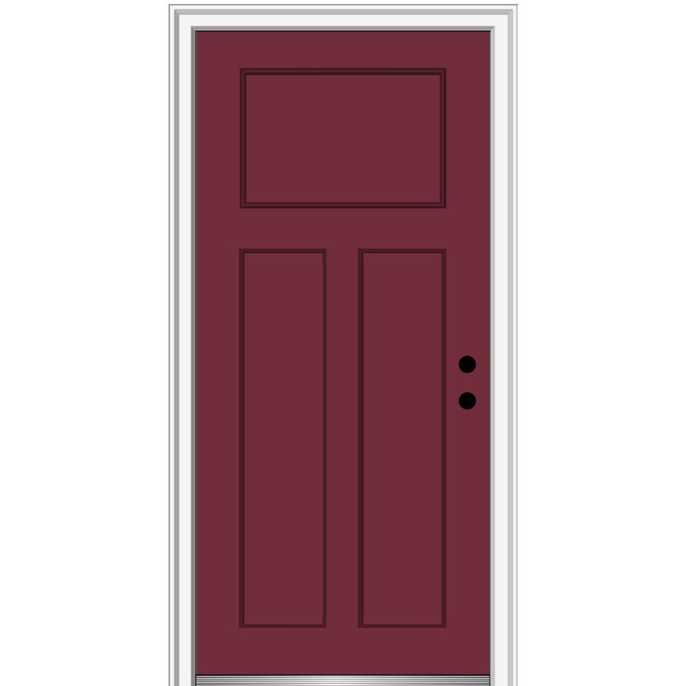 36 in. x 80 in. Left-Hand Inswing Craftsman 3-Panel Shaker Classic Painted Fiberglass Smooth Prehung Front Door