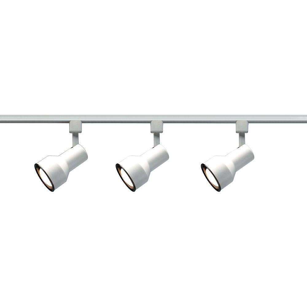Lite Line 3-Light R30 White Step Cylinder Track Lighting Kit