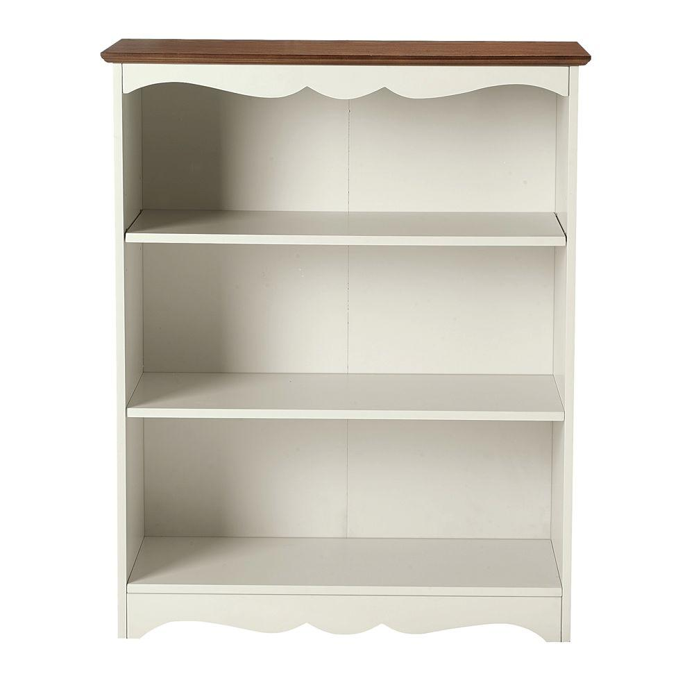 Home Decorators Collection 32 in. W Open 3-Shelf Book Case Southport Ivory and Oak
