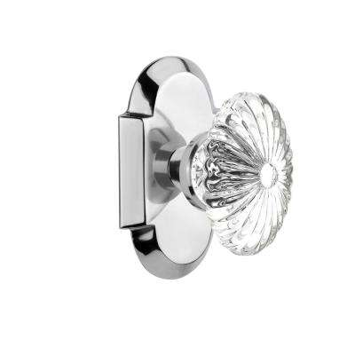 Cottage Plate 2-3/4 in. Backset Bright Chrome Passage Oval Fluted Crystal Glass Door Knob