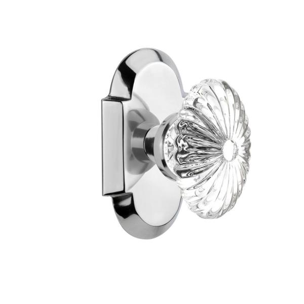 Nostalgic Warehouse Cottage Plate 2 3 4 In Backset Bright Chrome Passage Hall Closet Oval Fluted Crystal Glass Door Knob 708581 The Home Depot