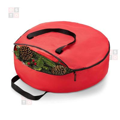 24 in Red Superior Christmas Wreath Storage Bag, Tear Proof X-Strong 600DFabric, Artificial Wreath Storage Protection