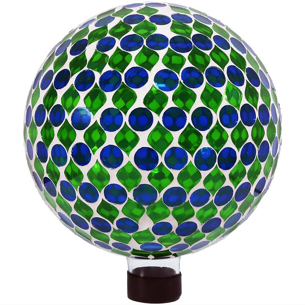 Mosaic Garden 10 in. Gazing Ball Yard Decor Green