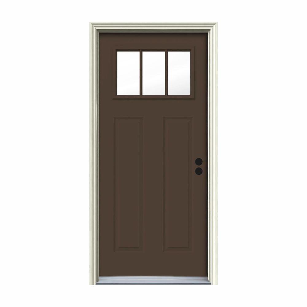 32 in. x 80 in. 3 Lite Craftsman Dark Chocolate Painted Steel Prehung Left-Hand Inswing Front Door w/Brickmould