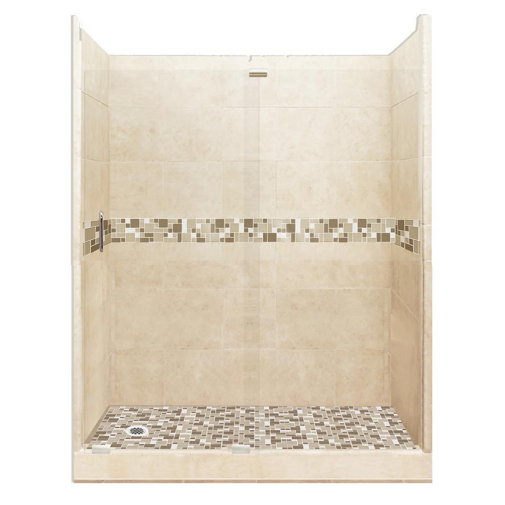 Tuscany Grand Slider 30 in. x 60 in. x 80 in. Left Drain Alcove Shower Kit in Desert Sand and Satin Nickel Hardware