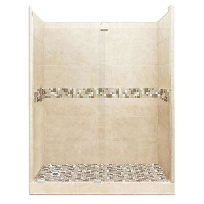 Tuscany Grand Slider 32 in. x 60 in. x 80 in. Left Drain Alcove Shower Kit in Desert Sand and Satin Nickel Hardware