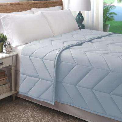 Light Blue Cotton Chevron Quilted King Blanket