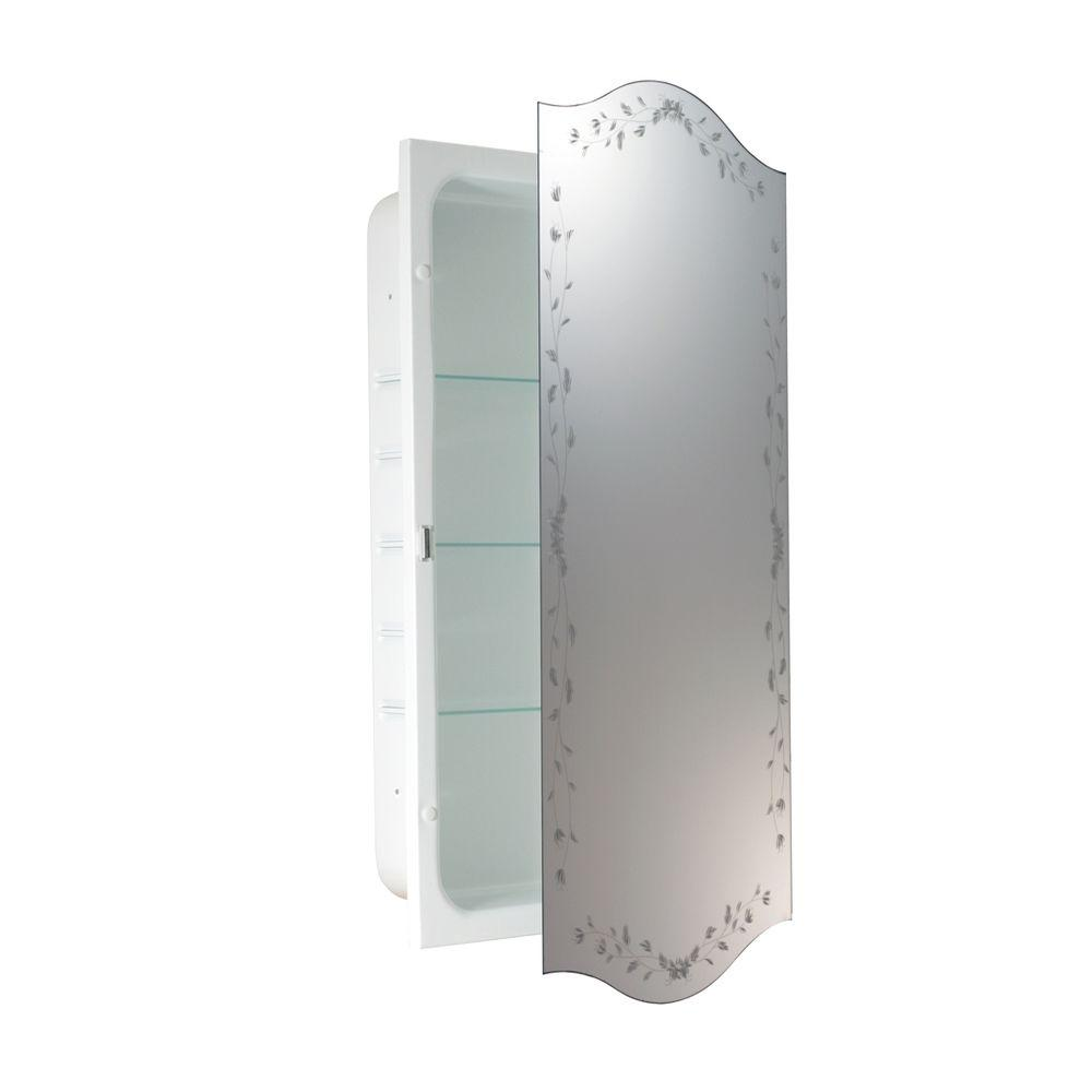 Deco Mirror 16 in. x 28 in. Recessed Venetian Eclipse Medicine Cabinet
