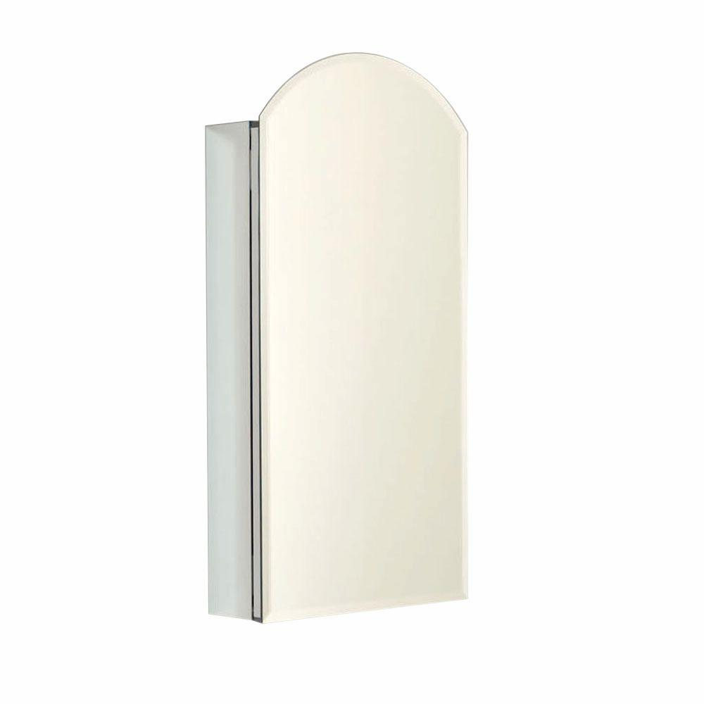 Zenith Premium Designer Series Aluminum Frameless 15 in. Surface or Recessed Medicine Cabinet with Arched Top