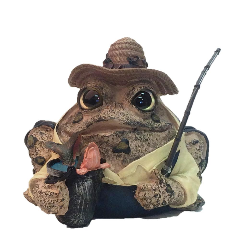 Toad Hollow 8.5 in. Fisherman Toad Garden Statue