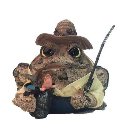 8.5 in. Fisherman Toad Garden Statue