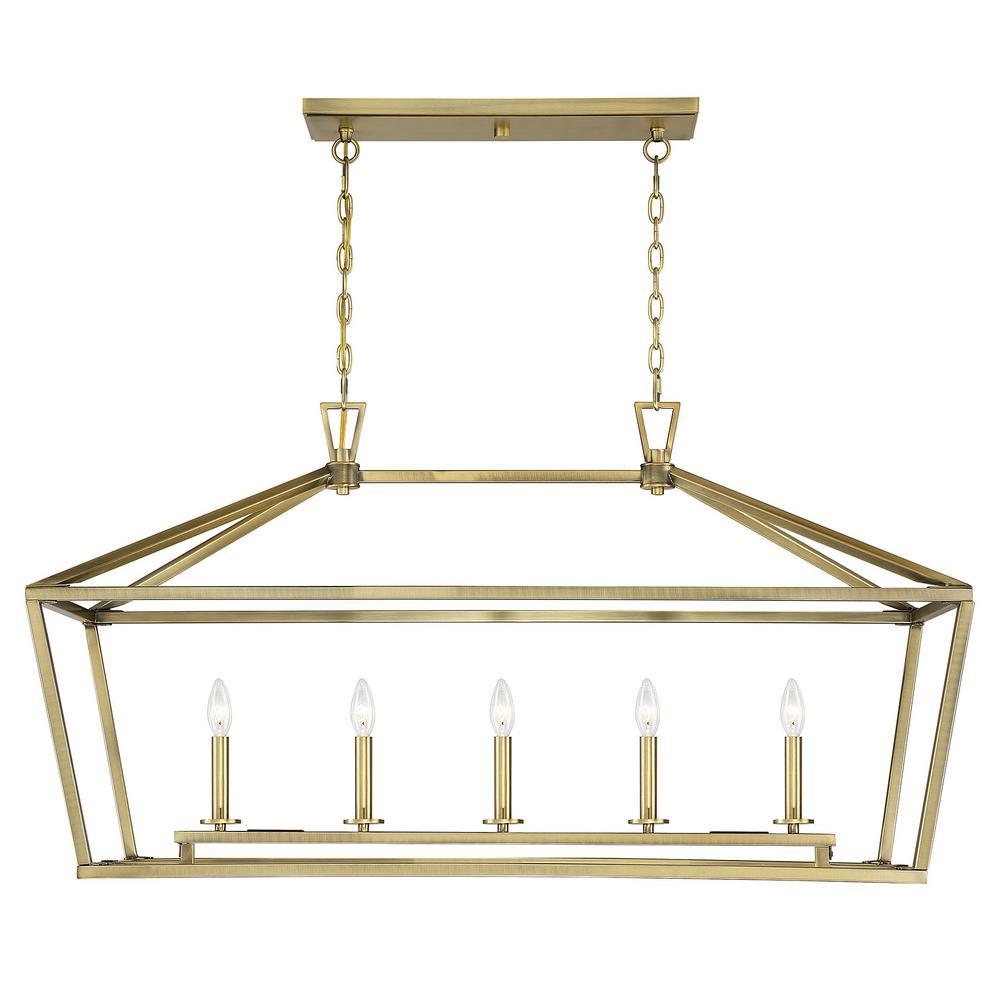 5-Light Warm Brass Trestle Pendant