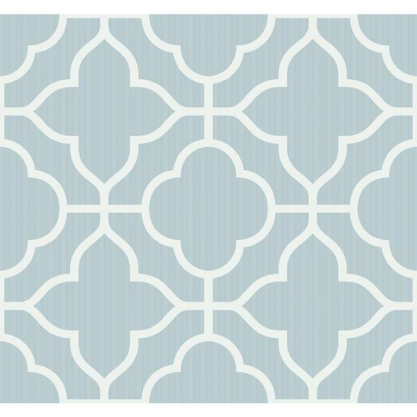 Seabrook Designs Geo Trellis Powder Blue and White Contemporary Wallpaper