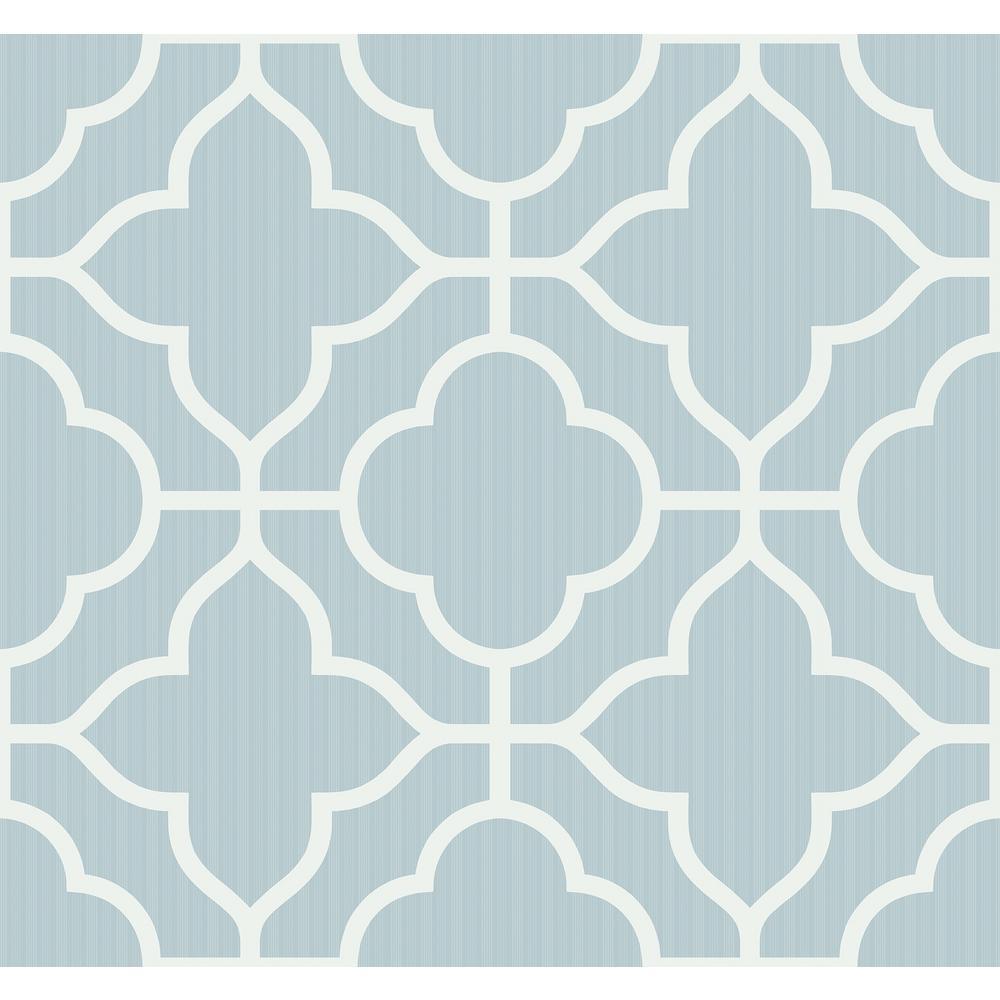. Geo Trellis Powder Blue and White Contemporary Wallpaper
