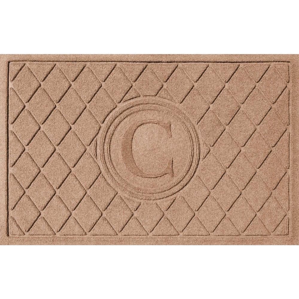Argyle Medium Brown 24 in. x 36 in. Monogram C Door Mat