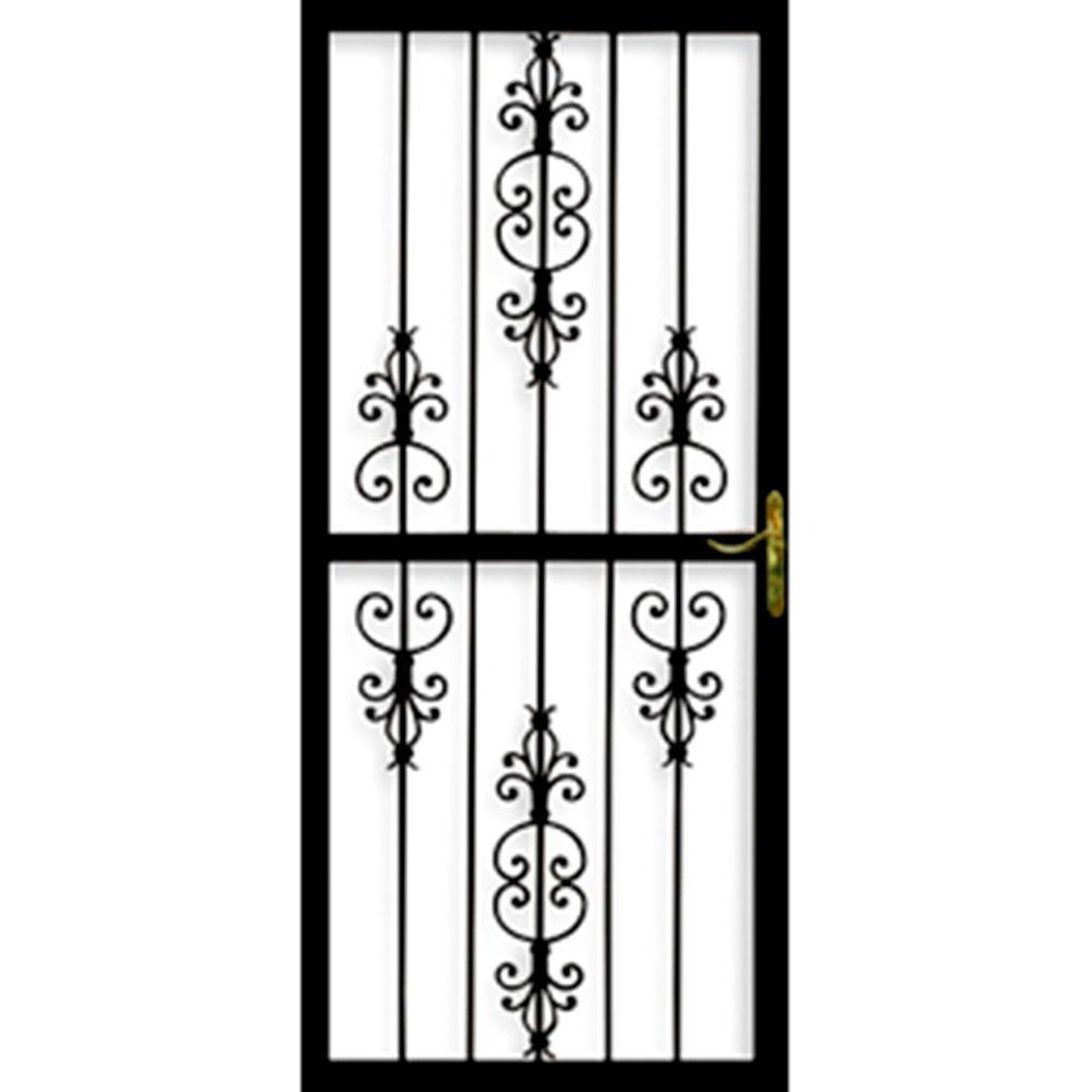 Grisham 32 in. x 80 in. 309 Series Black Prehung Heritage Steel Security Door